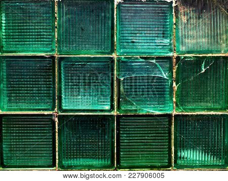 Green Wall Made Of Square Green Glass Pieces Background, Texture, Pattern