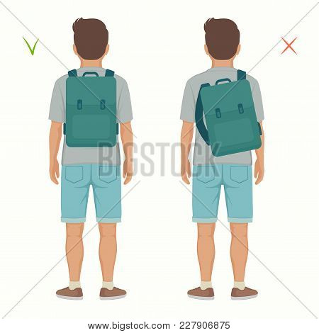 Vector Illustration Of Good And Wrong Spine  Posture, Correct And Incorrect Backpack Position On Chi