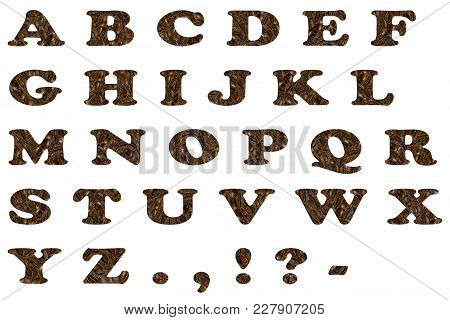 English Alphabet Made From Coffee Beans On White Background