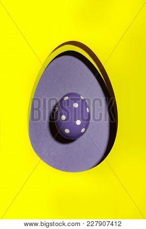 Easter Egg Ultraviolet On Yellow Background.flat Lay. Design, Visual Art, Minimalism.easter Backgrou
