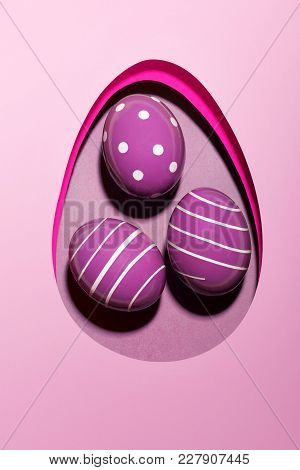 Easter Egg .purple Monochrome .flat Lay. Design, Visual Art, Minimalism.easter Background.space For