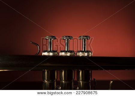 Modern Brass Trumpet Parts Macro Close Up