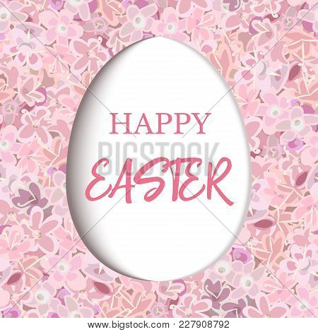 Happy Easter. Paper Cut Decorated White Flat Egg On Pink Flower Background Carnation, Crane's-bill O