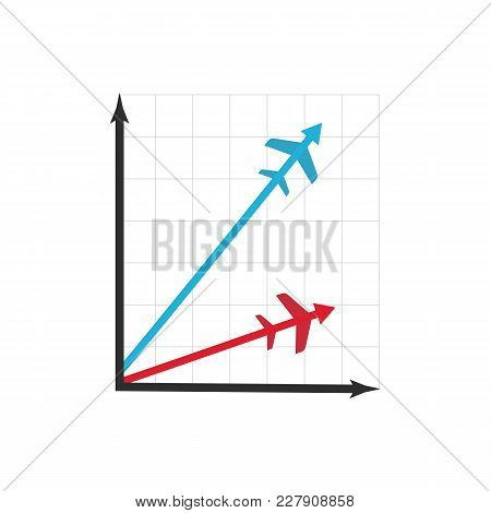 Graph Icon Of Flight Miles Bonuses Vector Illustration