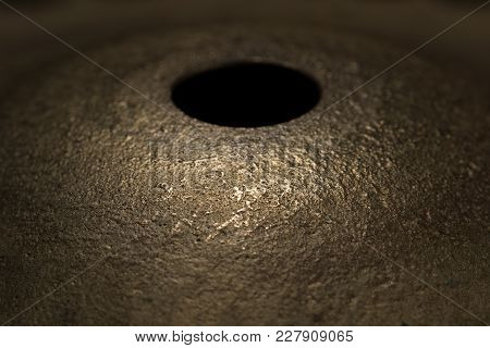 Brass Drum Cymbal Surface Macro Close Up