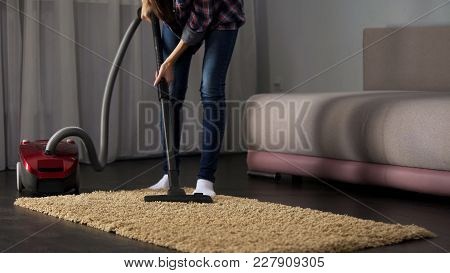 Housewife Cleaning Dusty Room With Vacuum Cleaner, Modern Technology, Hygiene, Stock Footage