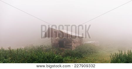 Panoramic Photo Of Wooden House In Spring Forest In Thick Fog, Mysterious Atmosphere, Toned