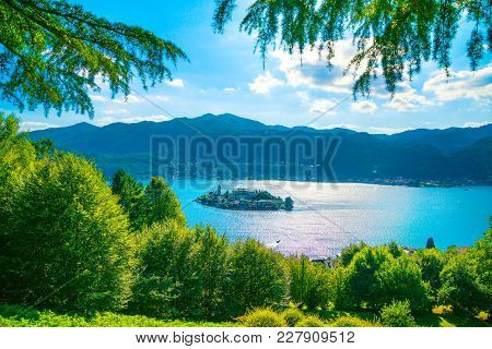 Orta Lake Landscape. San Giulio Island View From Sacro Monte. Piedmont, Italy, Europe.