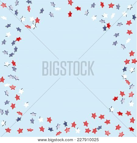 Star Background. Pending Red, Blue, White Stars Of Confetti On Light Blue. American Coloring. Bright