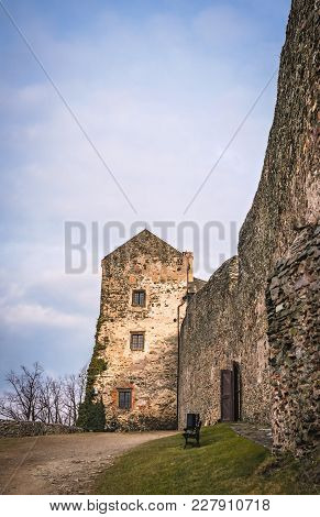High Massive Externall Walls Of The Medieval Bolkow Castle In Lower Silesia, Poland