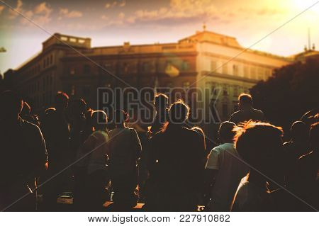 Street Photography, Summer In The City, Silhouette Of People At Sunset