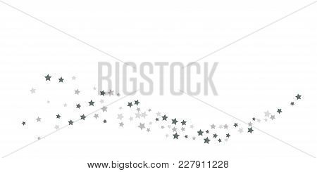 Silver Star Of Confetti. Falling Stars On A White Background. Illustration Of Flying Shiny Stars. De
