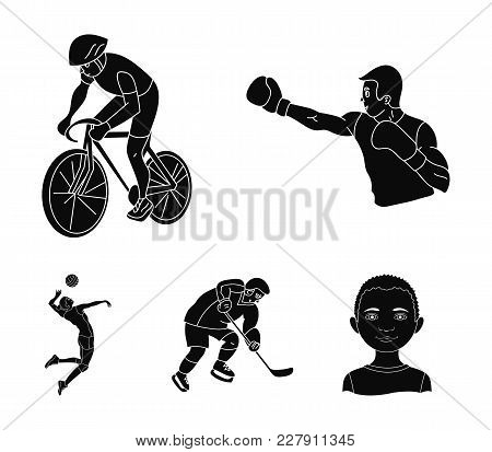 Cycling, Boxing, Ice Hockey, Volleyball.olympic Sport Set Collection Icons In Black Style Vector Sym