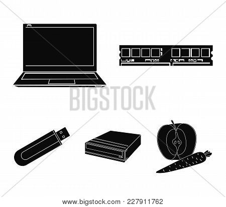 Flash Drive, Laptop, Memory Card.personal Computer Set Collection Icons In Black Style Vector Symbol