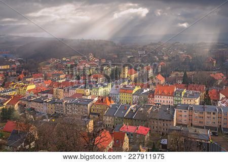 Colorful Tenement Houses In The Small Bolkow Town In Lower Silesia, Poland, As Seen From The Walls O