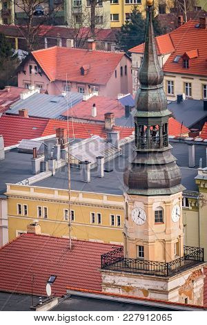 Aerial View Of The Catholic Church Tower In Bolkow Town In Lower Silesia, Poland, As Seen From The W