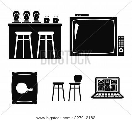 Tv, Bar Counter, Chairs And Armchairs, Potato Chips. Pub Set Collection Icons In Black Style Vector