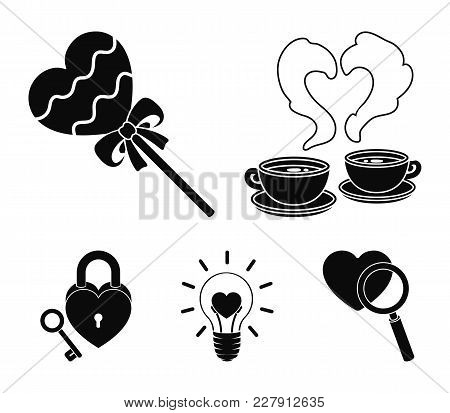 Cups With Coffee, Valentine, Lamp, Lock With Key. Romantic Set Collection Icons In Black Style Vecto