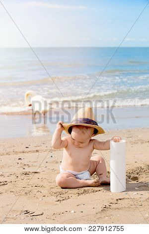 Close Up Portrait Of Cute Little Boy Playing On The Beach On Summer Vacation. Travel And Adventure C