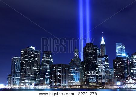 Lower Manhattan Skyline and the Towers Of Lights at Night, New York City