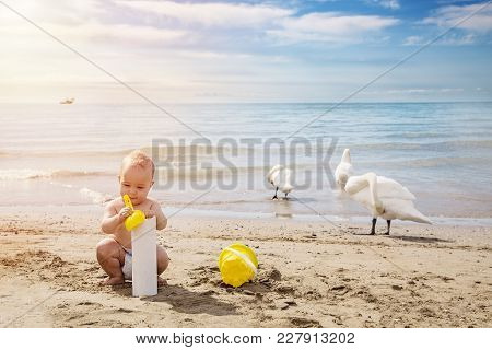 Happy Baby Boy Playng In The Sand With Yellow Scoop In Summer Day At The Beach.outdoor, Close Up. Tr