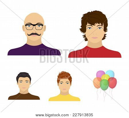 The Appearance Of The Young Guy, The Face Of A Bald Man With A Mustache In His Glasses. Face And App