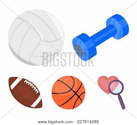 Blue Dumbbell, White Soccer Ball, Basketball, Rugby Ball. Sport Set Collection Icons In Cartoon Styl