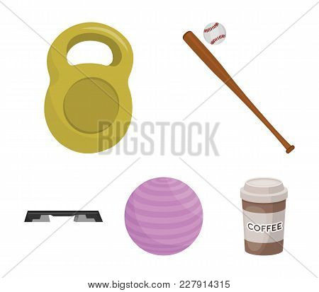 A Bat With A Ball For Baseball, A Weight For Muscles, A Ball For Playing, A Bench For Fitness. Sport