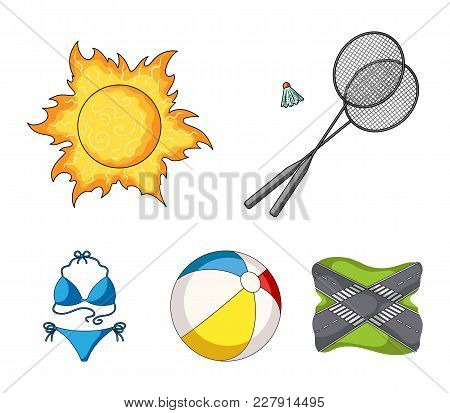 A Game Of Badminton, A Ball And The Sun.summer Vacation Set Collection Icons In Cartoon Style Vector