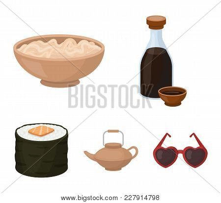 Soy Sauce, Noodles, Kettle.rolls.sushi Set Collection Icons In Cartoon Style Vector Symbol Stock Ill