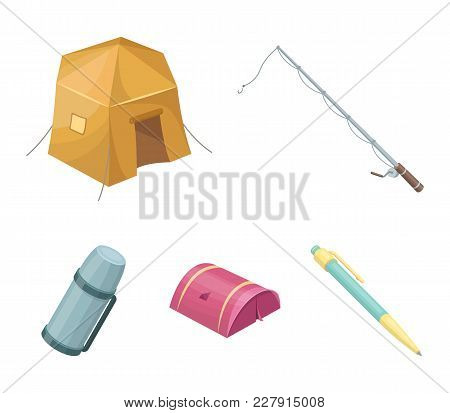Spinning For Fishing, Tent, Thermos.tent Set Collection Icons In Cartoon Style Vector Symbol Stock I