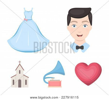 Wedding Dress, Groom, Gramophone, Church. Wedding Set Collection Icons In Cartoon Style Vector Symbo