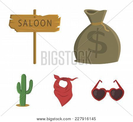 Bag Of Money, Saloon, Cowboy Kerchief, Cactus. Wild West Set Collection Icons In Cartoon Style Vecto