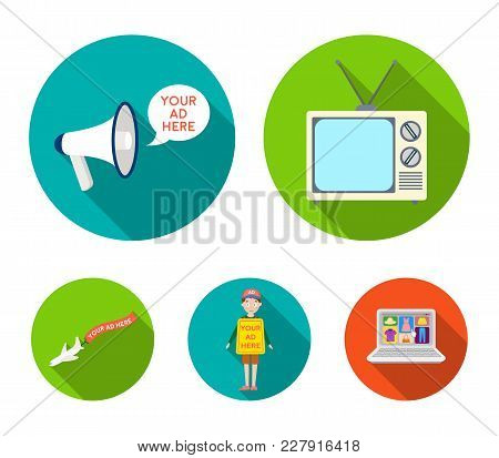 Tv, Megaphone, A Man With A Poster, An Airplane With A Banner.advertising, Set Collection Icons In F