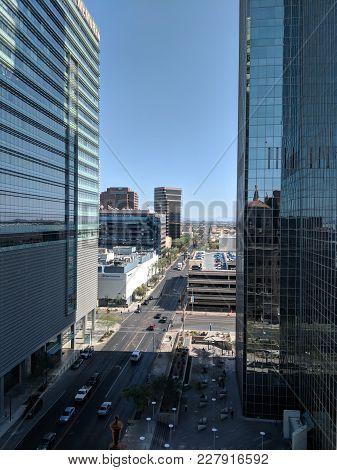 Phoenix, Az, Usa - February 22, 2018: Birdseye View Of Central Phoenix Crowded Downtown Streets Betw