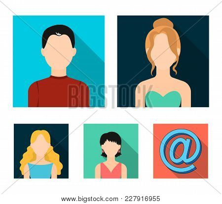 Boy Dark, Red-haired Girl, Blonde Woman, Girl With Earrings.avatar Set Collection Icons In Flat Styl