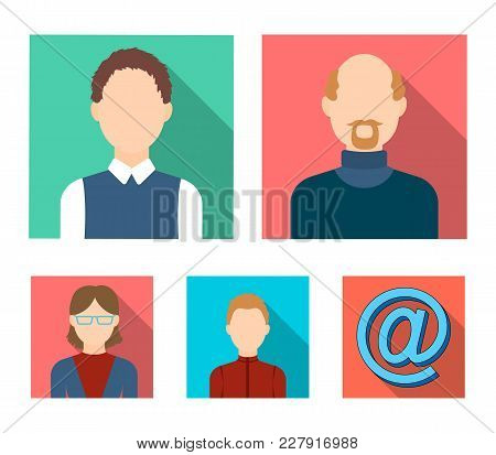 A Woman In Glasses. A Blond Teenager, A Young Man, A Bald Man With A Beard.avatar Set Collection Ico