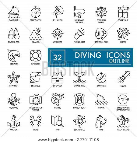 Web Icon Set. Summer, Sea Diving Vector Icons Isolated On White. Flat Thine Outline Icons. Eps 10.