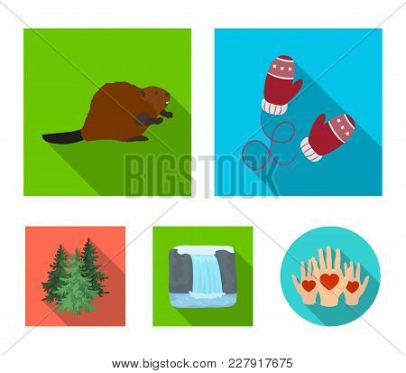 Canadian Fir, Beaver And Other Symbols Of Canada.canada Set Collection Icons In Flat Style Vector Sy