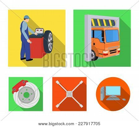 Wheel Balancing, Spanner And Brake Disc Flat Icons In Set Collection For Design.car Maintenance Stat