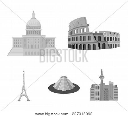 Sights Of Different Countries Monochrome Icons In Set Collection For Design. Famous Building Vector