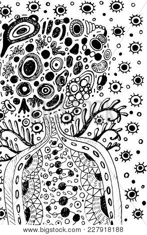 Surreal Doodle Cosmic Alien Man With Wings On Space. Fantasy Abstract Artwork For Design, Poster. Ve
