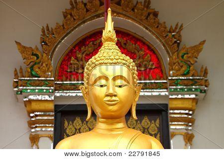 Buddha image in front of church Wat Naga Wichai Mahasarakam Thailand poster
