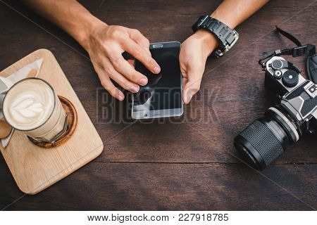 Happy Young Man Using Smartphone In Cafe Shop Relax Time On Holiday ,color Of Hipster Style Selectiv