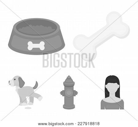 A Bone, A Fire Hydrant, A Bowl Of Food, A Pissing Dog.dog Set Collection Icons In Monochrome Style V