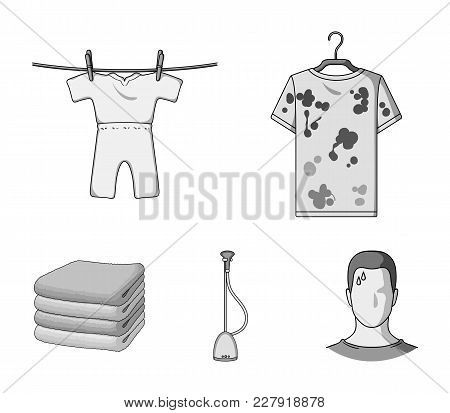 Vacuum Cleaner, A Stack Of Cloth, Dirty And Clean Things. Dry Cleaning Set Collection Icons In Monoc