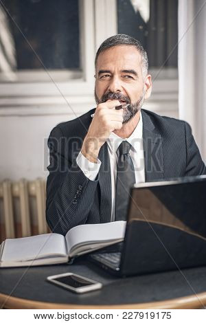 Happy Businessman Finds A Solution To The Problem, Coming Up With A Creative Idea