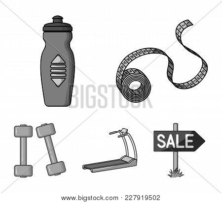 Measuring Tape, Water Bottle, Treadmill, Dumbbells. Fitnes Set Collection Icons In Monochrome Style