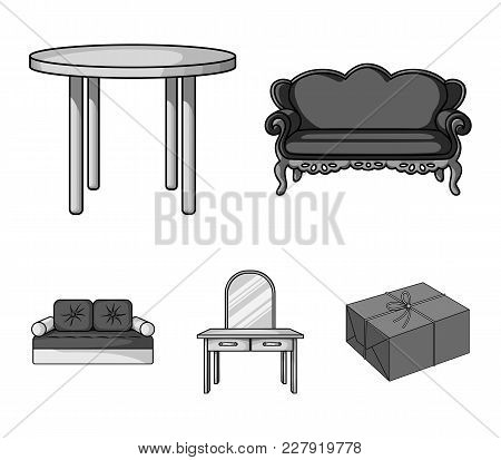Sofa, Armchair, Table, Mirror .furniture And Home Interiorset Collection Icons In Monochrome Style V