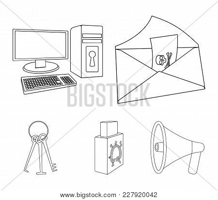 Virus, Monitor, Display, Screen .hackers And Hacking Set Collection Icons In Outline Style Vector Sy